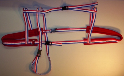 Red White Blue Harness w/ Red Padding