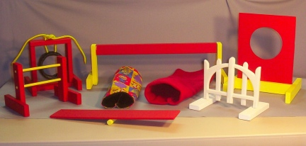 Pet Rat Agility Equipment Set Red Yellow